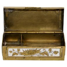 Early 1900s Chinese Enameled Brass Stamp Box
