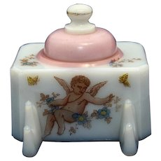 Nineteenth Century Milk Glass Inkstand with Cherub