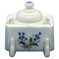 Nineteenth Century Milk Glass Inkstand with Flowers