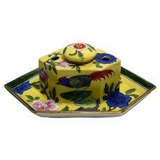 French Porcelain Inkwell  signed Aladin