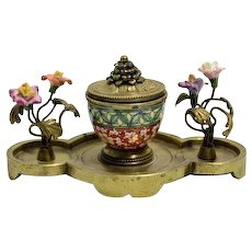 Nineteenth Century Bronze and Porcelain Inkwell