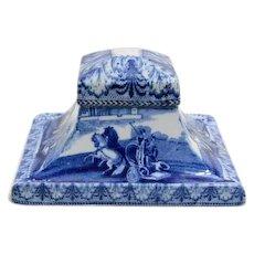 Cauldon Ceramic Inkwell - Arcadion Chariot Pattern