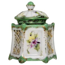 Late Nineteenth Century Porcelain Inkwell – Violets and Cut-outs