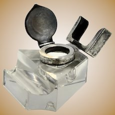 1912 British Cut Glass Inkwell, Sterling Lid with Card Holder