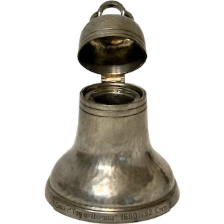 1930s Pewter Souvenir Bell Inkwell, Payne Silversmiths Oxford