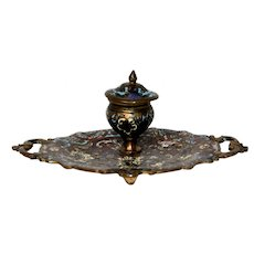 Late 19th Century French Champleve Inkwell