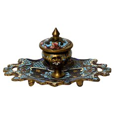 French Champleve Inkwell