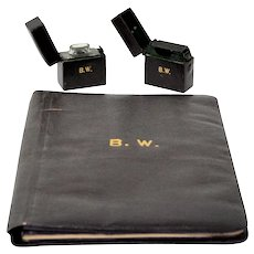 Traveling Inkwell Set: Inkwell, Match Holder-Striker, Notepad Holder