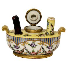 French Hand Painted Porcelain Gondola Type Inkwell with Stamp Seal