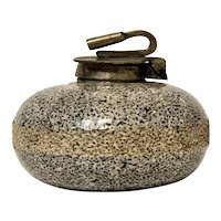 Antique Novelty Sports Inkwell, Curling Stone