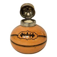 Antique Novelty Sports Inkwell, Rugby Ball and Cap