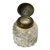 Hand Blown Swirled Glass and Brass Paperweight Inkwell