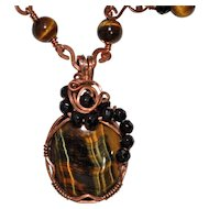 Tiger's Eye and Copper Wrapped Necklace