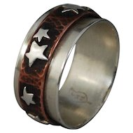 Star Spinner Ring, Silver Copper Fidget Ring