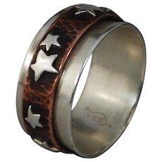 Star Spinner Ring, Silver Copper Fidget Ring