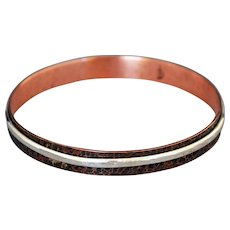 Copper and Silver Spinner Bracelet, Hammered Copper Fidget Bangle