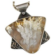Silver and Graveyard Point Plume Agate Pendant