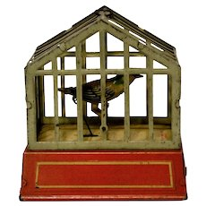 Song Bird in Cage Tin Windup Made in U.S. Zone Germany