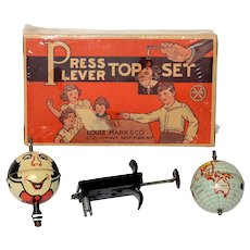 Marx Press Lever Tin Top Set with Sealed Box