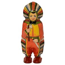 Chein or Lindstrom Dancing Boy in Indian Headdress and Clothes Tin Windup