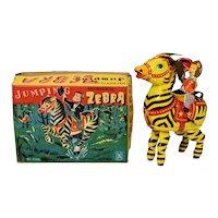 Masuya Jumping Zebra Tin Windup with Box—Near Mint