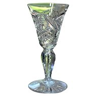 American Brilliant Cut Glass Cordial or Sherry Glass