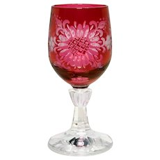Engraved Red Cordial Glass