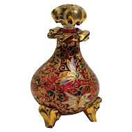 Bohemian Cranberry Enameled Perfume Bottle