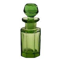 Small Green Cut Glass Perfume Bottle