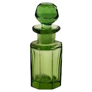 Small Green Cut Glass Perfume Bottle