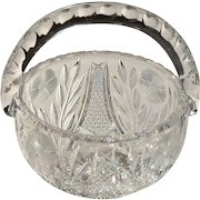 American Brilliant Cut Glass Basket with Corn Flower Design