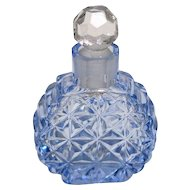 Czechoslovakia Cut Glass Mini Dresser Perfume Bottle – Blue