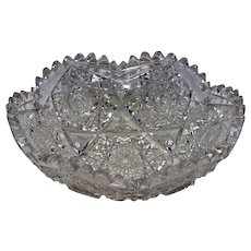 American Brilliant Cut Glass Low Bowl with Hobstars and Stars
