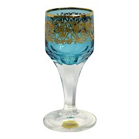 Moser Cordial – Cut Glass with Gold and Blue Flashing