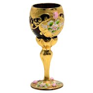 Jeweled Bohemian Glass Cordial – Ruby and Gold