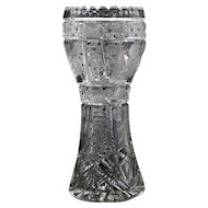 Large American Brilliant Cut Glass Vase with Cane and Engraved Flowers