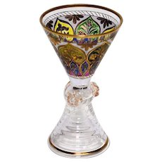 Nineteenth Century Engraved, Enameled Bohemian Glass Cordial