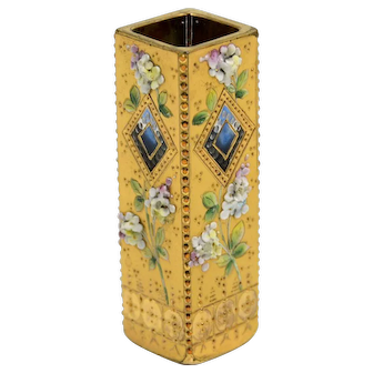 Bohemian Glass Bud Vase – Gold, Porcelain and Enamel Decoration