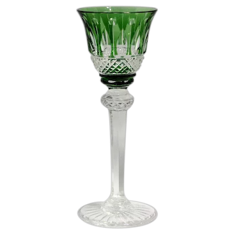 St. Louis Cut Glass Cordial – Tommy Pattern Green Cut to Clear