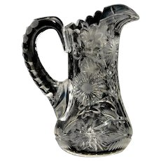 American Brilliant Cut Glass Pitcher with Floral Pattern
