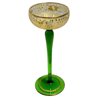 Tall Green Stemmed Cordial Glass with Gold Engraved Decoration