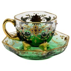 Early 1900s Enameled Bohemian Glass Cup and Saucer