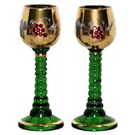 Pair of Glass Cordials with Glass Gems