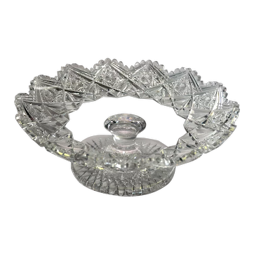 American Brilliant Cut Glass Low Comport or Footed Bowl