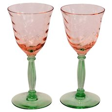 Pair Elegant Depression Glass Pink and Green Cordials