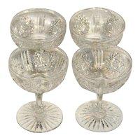 Four American Brilliant Cut Glass Champagne Glasses