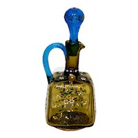 Enameled Theresienthal Art Glass Decanter