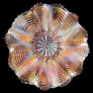 Peacock Tail - Fenton Carnival Glass Bowl - Marigold