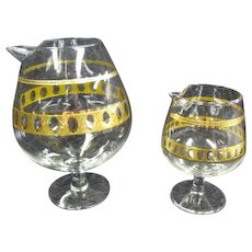 Culver Brandy Snifter Pitchers Antigua 22K gold crackle