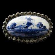 Blue Delft Pin Brooch